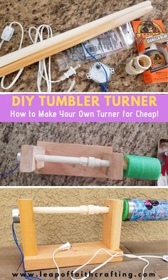 Learn how to make a tumbler turner for cheap with just a few supplies. A DIY cup turner will change your life if you make a lot of glitter tumblers! Diy Tumblers, Custom Tumblers, Glitter Tumblers, Personalized Tumblers, Diy Resin Art, Diy Resin Crafts, Pvc Pipe Crafts, Vinyl Crafts, Pvc Projects