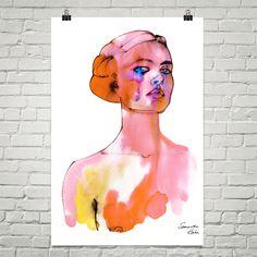 Pink girl art poster 24X36