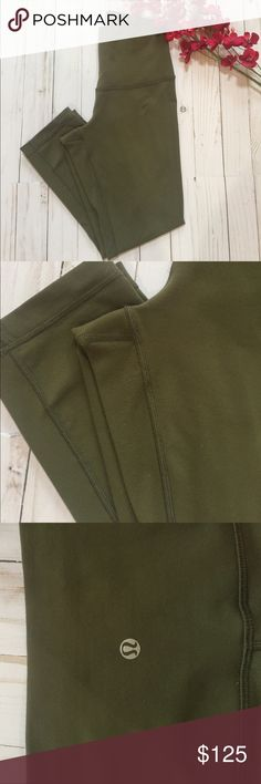 🌸Lululemon Fatigue Green High Times🌸 EUC Lululemon High Times 7/8 length. Fatigue green size 6. Minimal piling only in crotch area. Smoke free home lululemon athletica Pants Leggings