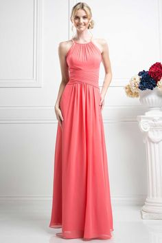 Bridesmaid Long Gown CDCH1501. Bridesmaid Long, A-Line Evening Gown has Halter Neck with Overlay Sweetheart Bodice and Faux Wrap Waistline, Semi Sheer Back with Keyhole Detail and Zipper Closure, Floor Length Flowing Skirt. https://www.smcfashion.com/wholesale-bridesmaid-dresses/bridesmaid-long-gown-cdch1501