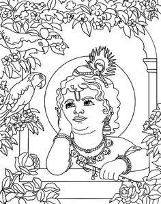 Lord Krishna Sketch, Krishna Drawing, Krishna Art, Shree Krishna, Art Drawings For Kids, Outline Drawings, Art Drawings Sketches, Indian Women Painting, Baby Krishna