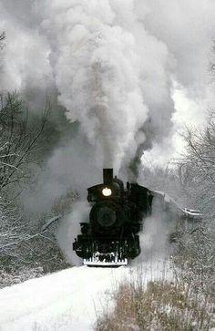 Steam engine in winter.
