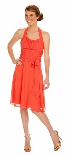 Halter Strap Orange Graduation Dress Chiffon With Bow Knee Length $79.99