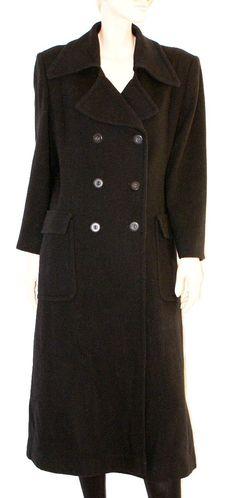 """Gorgeous Double-Breasted Black Woman Coat Wool&Cachemere Size L Cappotto Doppiopetto Lungo Nero  """"Marchese Coccapani""""  Misto Lana Taglia L di BeHappieWorld su Etsy"""
