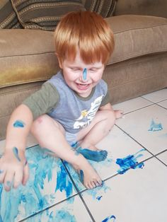 Some days we get messy - Mamma & Bear Everything Is Blue, Instagram Challenge, Wet Wipe, Finger Painting, Arts And Crafts Projects, Sensory Activities, Looking Back, Challenges, Kids Rugs