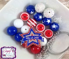 4th Of July Patriotic Star Girls Chunky Necklace kit Girls chunky necklace 20mm bubblegum bead necklace