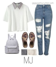 """""""Study Date // MJ"""" by suga-infires ❤ liked on Polyvore featuring Topshop, Dr. Martens and SELECTED"""