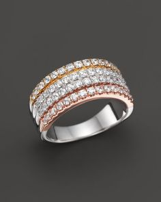 Diamond Multi Row Band Ring in 14K Yellow, White and Rose Gold, 1.0 ct. t.w.