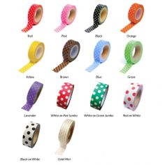 Gold dots Polka Dot Japanese Paper Washi Tape - Available in 14 Styles! [Decorative Polka Dot Tape] : Wholesale Wedding Supplies, Discount Wedding Fav...