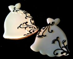 Black and white Wedding Dress Decorated Sugar Cookies Bridal shower