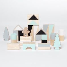 Small wooden blocks - Mint & monochrome - 30 pieces - Happy Little Folks