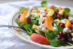 summer corn, peach, and cherry spinach salad with goats cheese // warm vanilla sugar