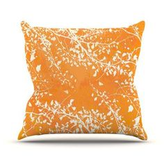 "KESS InHouse Twigs Silhouette by Iris Lehnhardt Throw Pillow Size: 18"" H x 18"" W x 3"" D, Color: Orange"