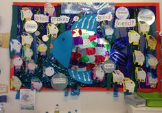 A super The Rainbow Fish classroom display photo contribution. Great ideas for your classroom! Rainbow Fish Eyfs, Rainbow Fish Activities, The Rainbow Fish, Class Displays, School Displays, Classroom Displays, Classroom Decor, Fish Bulletin Boards, Rainbow Fish Bulletin Board