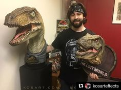 "Repost from @kosarteffects . People always ask what movie got you interested in doing special effects and I always tell them ""Jurassic Park!"" I am just in awe of these gorgeous pieces from @chroniclecollectibles!! The Jurassic Park Velociaptor 1:1 bust is beyond breathtaking and so lifelike and the Lost World T-Rex 1:5 bust is just beautiful! From the sculpt to the paint Chronicle captured perfectly the incredible design work originally created by Stan Winston Studio (who's picture of me and…"