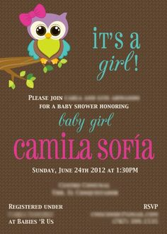 Owl themed baby shower invitation. Invite. It's a girl. having a girl