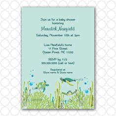 Realistic Sea Turtle Baby Shower or Birthday by lemontreecards, $12.50
