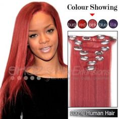 20 Inches 7pcs Clip-in Human Hair Extensions Straight Pink