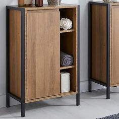 industrial bathroom console dunelm, affiliate partner Mid Century Modern Bathroom, Modern Bathroom Design, Bathroom Furniture, Bathroom Interior, Industrial Bathroom, Built In Storage, Tall Cabinet Storage, Basin Vanity Unit, Wall Hung Toilet