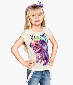 girls Jersey Cat print shirt| H&M CA