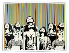 """Color Rain"" by Icy and Sot. 19″ x 25″ Stencil/Spraypaint. Ed of 25 S/N."