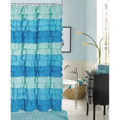 Spice up shower time with this Venezia shower curtain that adds elegance to your bathroom. Plus, it is machine-washable for easy cleaning. A ruffled design in white, blue or purple is sure to accent your existing decor.