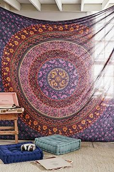 Large Hippie Tapestry, Hippy Mandala Bohemian Tapestries, Indian Dorm Decor, Psychedelic Tapestry Wall Hanging Ethnic Decorative Urban Tapestry (90x90 inches) (Multi Color), http://www.amazon.com/dp/B013L6UMMU/ref=cm_sw_r_pi_awdm_06KXwb0J3P5V3