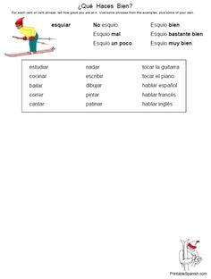 NEW Printable Spanish FREEBIE of the Day: ¿Qué Haces Bien? verb phrases worksheet from PrintableSpanish.com