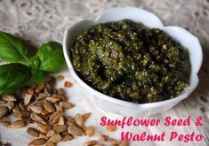Pesto with sunflower seeds, walnuts, basil, olive oil, garlic