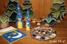 Moon and Stars Gnomes and Sleeping Bag | Wee Folk Art--Would love to sew these for Christmas time!