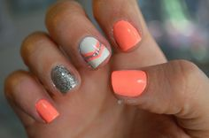 Catchy Spring Nail Art Design 2014 With Eye-catching Orange And Silver Glitter Nail Polish Combined With Orange Chevron Motif On White Nail ...