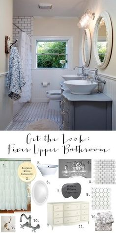 """I am sharing all the details on how to """"get the look"""" of this stunning Fixer Upper Bathroom. Subway tile, Ruffles and vintage finds...oh my!"""