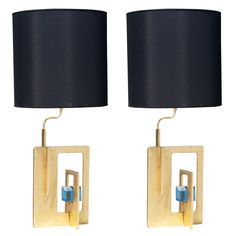 Pair of Italian Gilt Iron and Faceted Glass Lamps available through www.lewistrimble.com