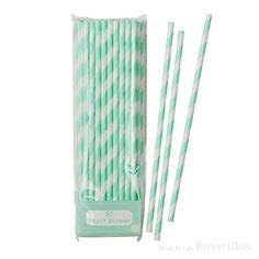 30 pajitas de papel de excelente calidad, con rayas en color blanco y menta. Son ideales para acompañar los refrescos y zumos de verano, cócteles... en fiestas, cumpleaños...