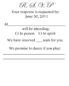 Actual wedding misc on pinterest wedding emergency for Rsvp stand for on an invitation