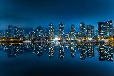 Blue City - The modern downtown of Vancouver, Canada.