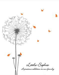 Baby Shower Guest Book Alternative, Fingerprint Guestbook , DIGITAL PRINTABLE JPEG, Dandelion Thumbprint Guestbook butterflies - Customized