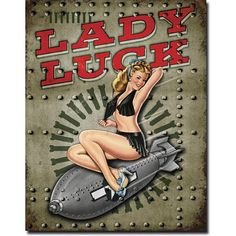 Lady Luck Sexy Girl on Airplane Bomb Distressed Retro Vintage Tin Sign