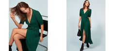 Essentials. This is a midi length, wrap dress with a  v neckline and high-low hem.