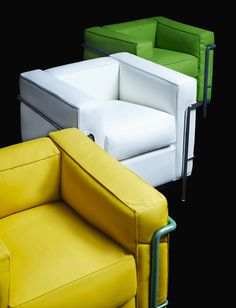 LC2 armchairs by le corbusier (pierre jeanneret and charlotte perriand)  photo by karl lagerfeld for cassina