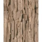 Deeply Shaded Natural Wood Log Print Wallpaper