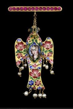 Persia | A Qajar gem-set enamelled gold Pendant in the form of an Eagle. 19th century.