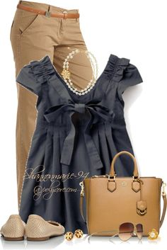 Cute Khaki Pants With Dress Top Spring Outfit