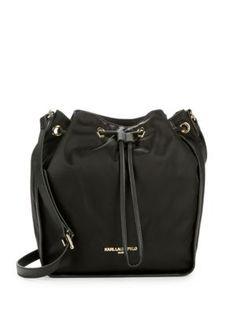 KARL LAGERFELD Elise Drawstring Crossbody Bucket Bag. #karllagerfeld #bags #shoulder bags #polyester #nylon #bucket #
