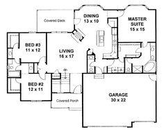 split bedroom house plans | Appealing Split-Bedroom Layout (HWBDO68133) | Traditional House Plan ...