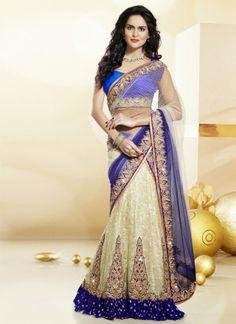 Charming Cream With Blue Latest Designer Wedding Lehenga Choli http://www.angelnx.com/Lehenga-Choli#