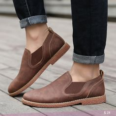 US $28 Men's Chelsea Boots British Style Fashion Ankle Boots Men Casual Shoes Luxury Brand Work Boots Low Cut Boots Height Increasing