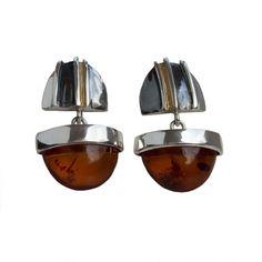 Split Duo Amber and Silver Earrings  from www.monartti.com | #silverearrings #dropearrings #StatementJewellery #silver #amber #jewellery #gemstones Silver Drop Earrings, Statement Earrings, Semi Precious Gemstones, Decorative Bowls, Amber, Jewellery, Sterling Silver, Silver Earrings, Jewels
