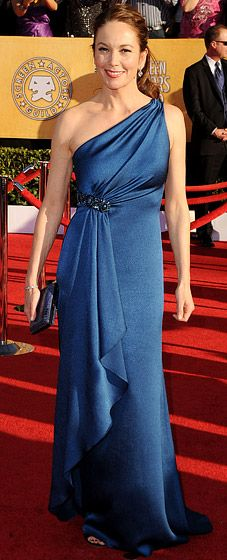 Diane Lane at the 2012 SAG Awards    In a blue satin one shoulder David Meister evening gown and Neil Lane jewels
