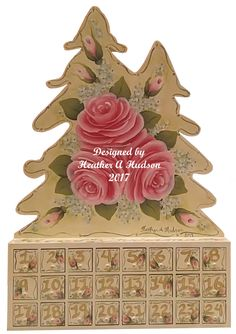 Vintage hp Hand Painted Pink Shabby Roses Christmas Tree Advent Calendar Made to Order  Ornament